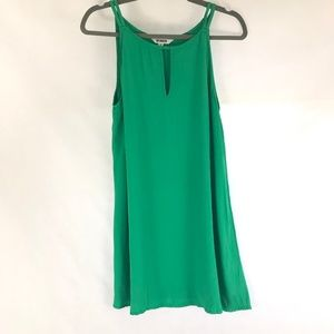 BB Dakota Green Rayon Shift Spaghetti Strap Dress